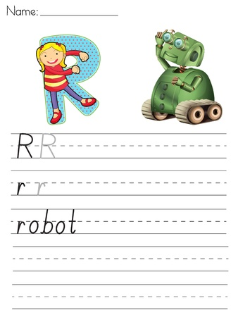 Alphabet worksheet of the letter R Vector
