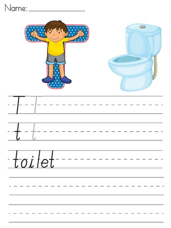 paper spell: Alphabet worksheet of the letter T Illustration
