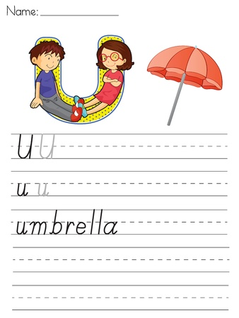 paper spell: Alphabet worksheet of the letter U Illustration