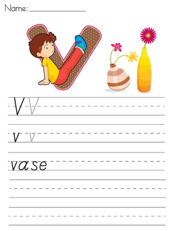 Alphabet worksheet of the letter V Vector