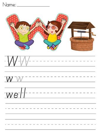 escuela infantil: Alfabeto de la hoja de cálculo de la letra W Vectores