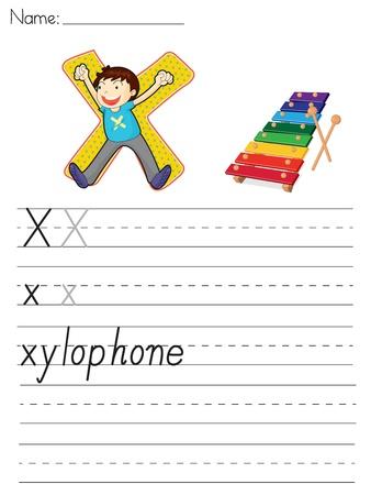 Alphabet worksheet of the letter X Vector