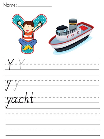 paper spell: Alphabet worksheet of the letter Y