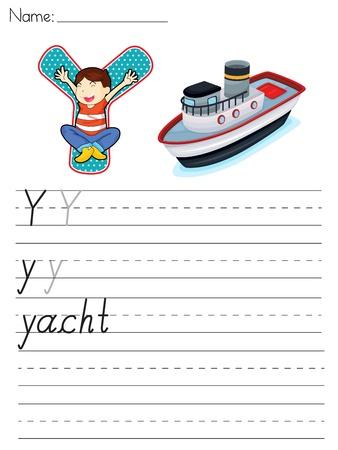 Alphabet worksheet of the letter Y Vector