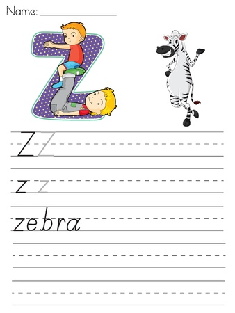 paper spell: Alphabet worksheet of the letter Z Illustration