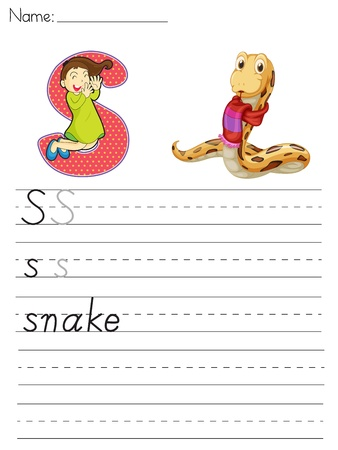 Alphabet worksheet of the letter S Vector