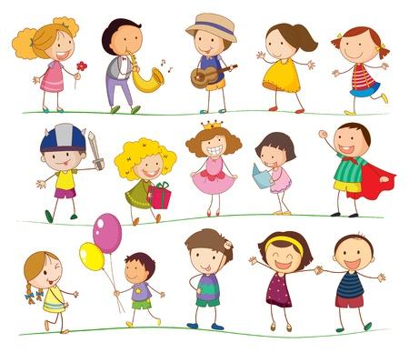 kind spielen: Illustration von gemischten einfachen Kinder Illustration