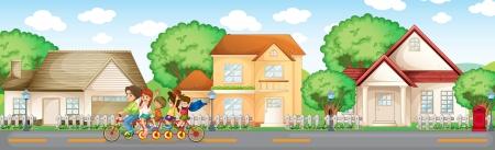 residential neighborhood: Ilustraci�n de la familia en los suburbios
