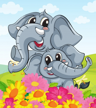 elephants: Illustration of cartoon elephants together