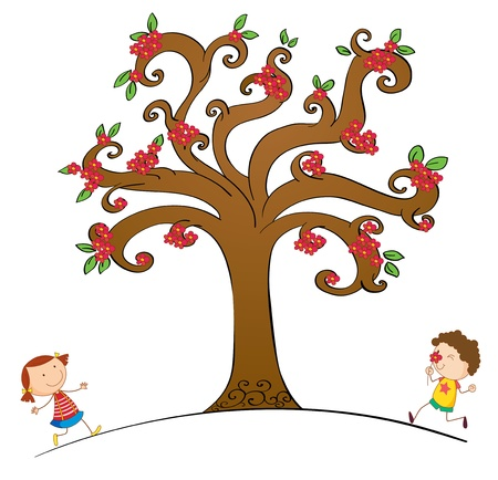 smelling: Illustration of kids and abstract tree Illustration