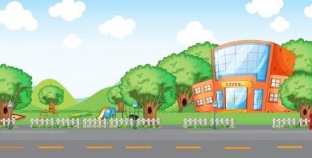 edificio escuela: Ilustraci�n de patio vac�o y la escuela