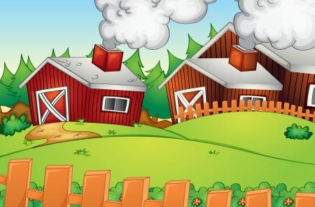 incendio casa: Ilustraci�n del paisaje rural vac�a