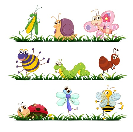 Illustration of mixed bugs on grass