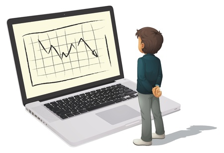 illustration of a business man standing in front of monitor Vector