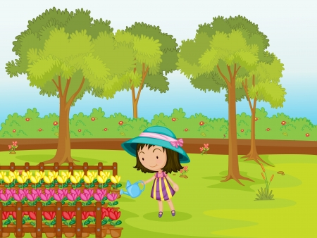 Illustration of a girl watering flowers Vector