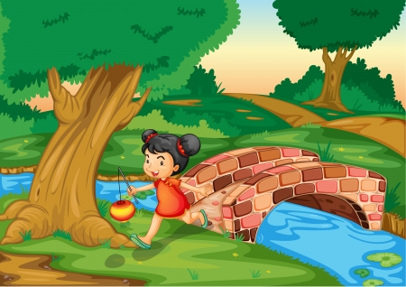Illustration of a chinese girl running Vector