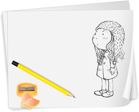 Illustration of paper with sketch Vector