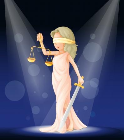 dama de la justicia: Ilustración del concepto de justicia en el escenario Vectores