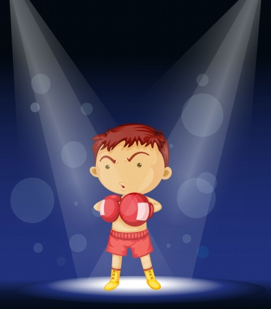 Illustration of little athlete on stage Vector