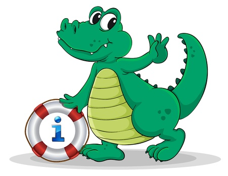 Illustration of a cartoon character and an information icon Vector