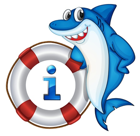 fish icon: Illustration of a cartoon character and an information icon