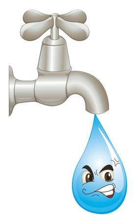 conservacion del agua: Ilustración del concepto de desperdicio de agua