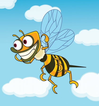 Ugly bee on a blue sky background Illustration