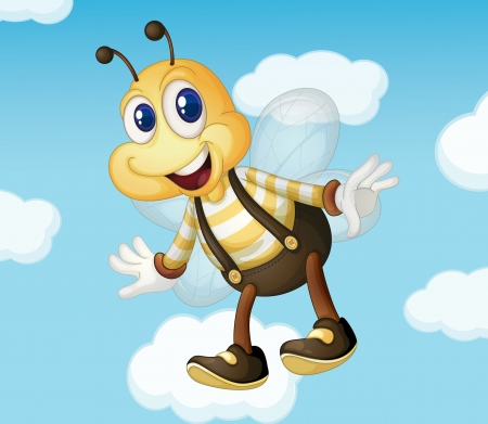 cute bee: bee on a blue sky background