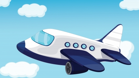 airplane cartoon: plane on a blue sky background