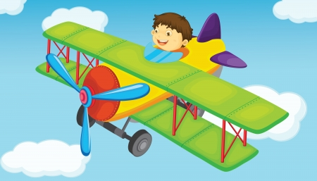 plane on a blue sky background Stock Vector - 13935120