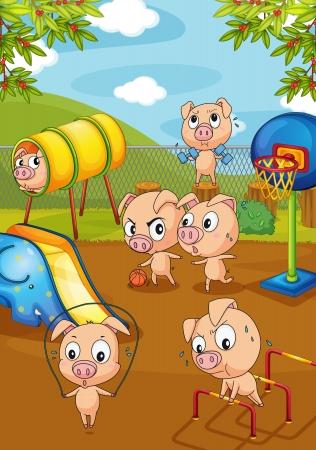 Ilustraci�n de la elaboraci�n de los cerdos