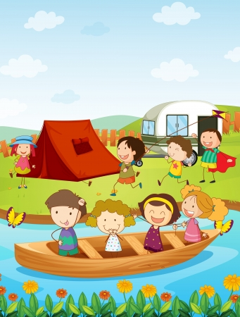 Illustration of kids camping Vector