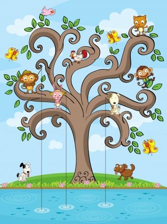Illustration des animaux pêche dans un arbre