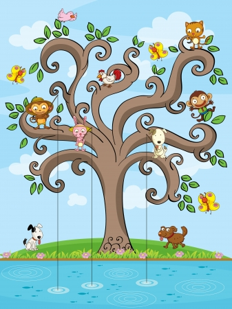 puppy and kitten: Illustration of animals fishing in a tree Illustration