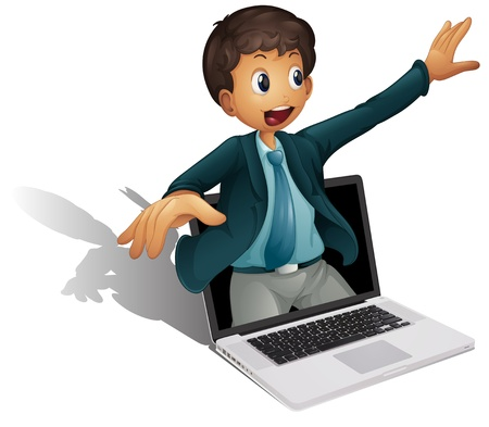 Business man coming out of a computer screen Stock Vector - 13935250
