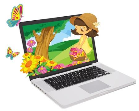 spring out: Ni�a de las flores que salen de la pantalla del ordenador Vectores