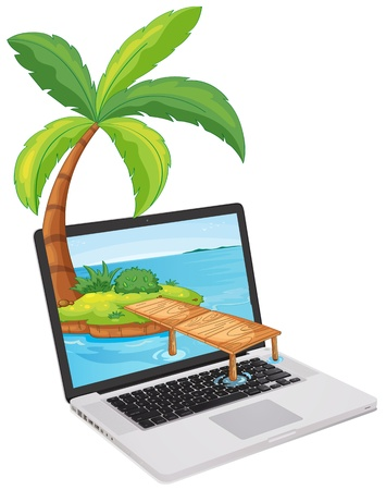 Tropical scene coming out of a computer screen Vector