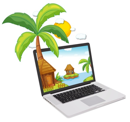 Tropical scene coming out of a computer screen Stock Vector - 13935386