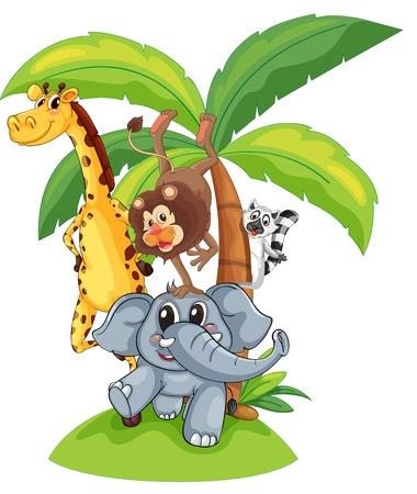 zoogdier: Illustratie van exotische dieren in een groep Stock Illustratie