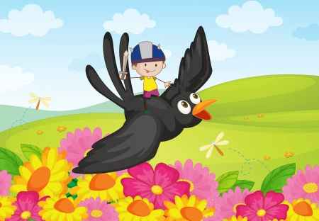Illustration of boy knight riding a bird Vector