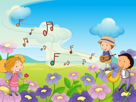 boy playing guitar: Illustration of musical kids Illustration
