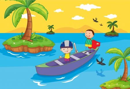 canotaje: Ilustraci�n de los ni�os en un barco