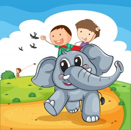 Illustration of kids riding an elephant