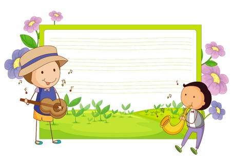 sketch child: illustration of a music template