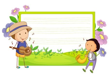 ni�os con pancarta: ilustraci�n de una plantilla de m�sica