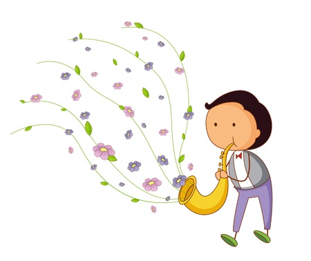 illustration of child playing a sax Vector