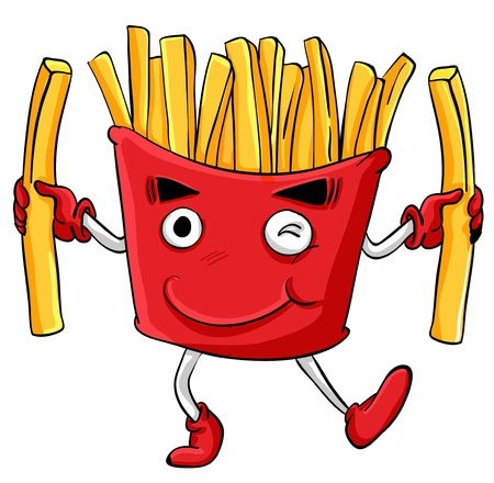Illustration of comical cartoon food Vector