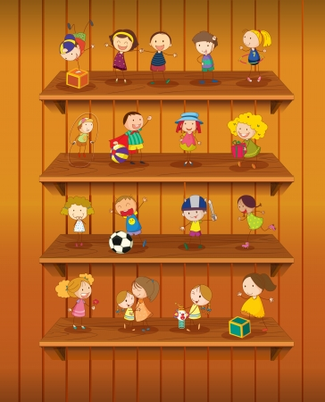 cupboard: Illustration of toys playing on shelves