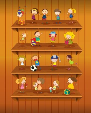 armarios: Ilustraci�n de los juguetes a jugar en las estanter�as