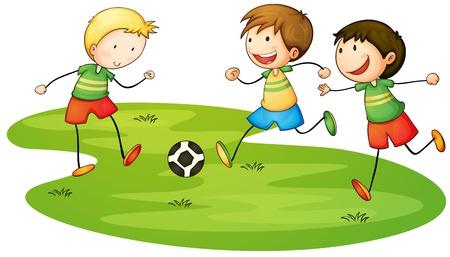 jugando futbol: Ilustraci�n de ni�os jugando el deporte Vectores